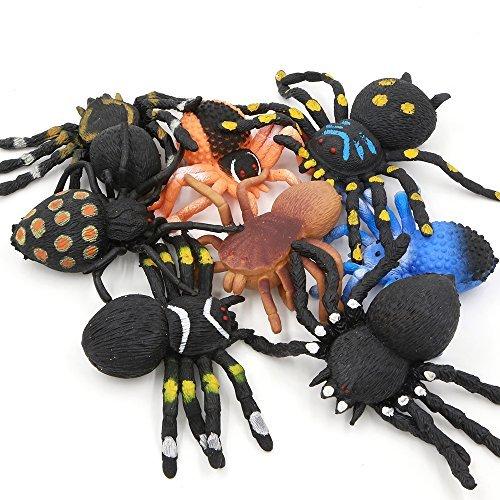 Spielzeugspinne,Schwarzspinnen-Set aus Gummi 5 inch (8 Packungen),Sicherheit Material TPR,super dehnbar,Tierwelt,Spielzeugfiguren,Schwarze Spinne,Halloweendekoration, Partyzubehör,Praktische Witze