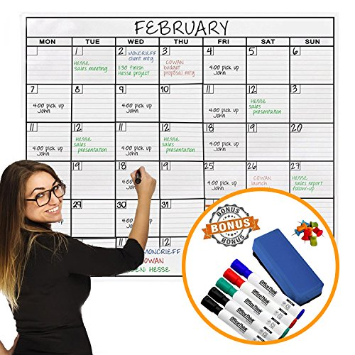 OfficeThink Laminated Jumbo Organizing Calendar, Huge 91-CM by 122-CM Size, Extra Large Date Boxes, Easy Erase Film, Never Folded, Bonus 8 Jumbo Tacks, 5 Markers, 1 Eraser Included