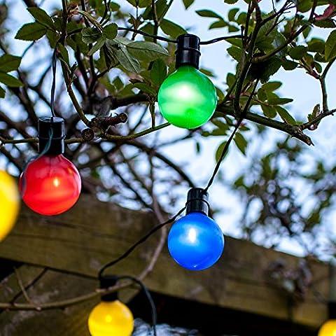 Guirlande Lumineuse Guinguette Solaire avec 16 Boules LED Multicolores 2,8m