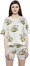 N-Gal Women White Yellow Printed Nightwear Top and Shorts Loungewear Set - NAYN37-White