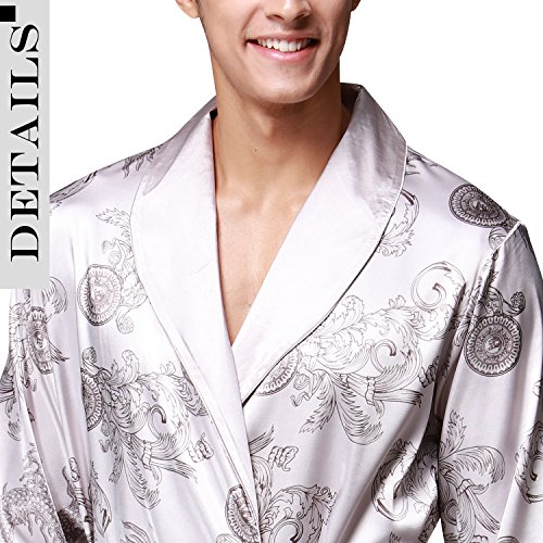 Dolamen Herren Morgenmantel Bademäntel Kimono, Weich u. Leicht glatte Luxus Satin Nachtwäsche Bademantel Robe Negligee locker Schlafanzug mit Belt & Pockets Silber