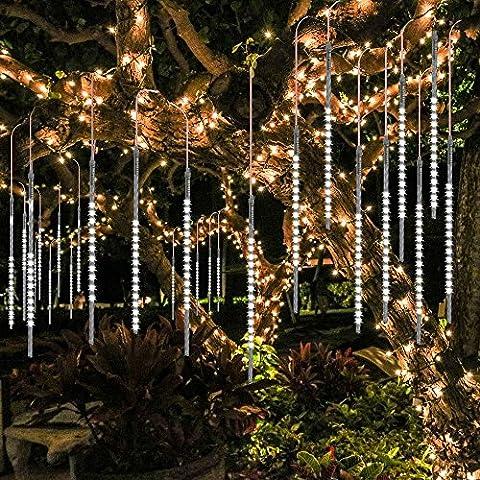 BlueFire Aktualisiert Meteorschauer Regen Lichter, 30cm 10 Tubes 300 LEDs Wasserdichte Schneefall Lichterkette für Draussen/Innenraum/Garten/Hochzeit/Party/Weihnachten Dekoration (Weiß)