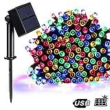 Solar Lichterkette Außen, T98 LED Weihnachtsbeleuchtung Bunt 100er 8 Modi Innen Aussen Deko Lichter für Garten Weihnachten Partys Hochzeiten Camping Hof