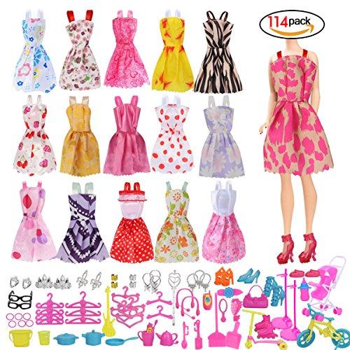 Barbie-puppen Für Kleidung (Heall Puppe Bekleidung Zubehör für Barbie 114 Stück Puppe Bekleidung Set mini nette Rock-Puppe kleidet Kleidungs-Kostüm Barbie-Puppe)