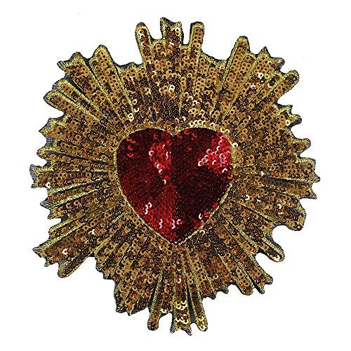 2Piece, rojo oro lentejuelas corazón patrón tela