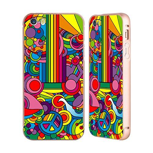 Ufficiale Howie Green Fiori Acqua Pattern Oro Cover Contorno con Bumper in Alluminio per Apple iPhone 5 / 5s / SE Pop Art Chitarra Motivo 916