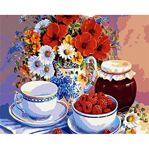 Dnesdanas DIY Malen Nach Zahlen Ölfarbe Mit Pinseln Zum Zeichnen Anfänger Home Decoration Blume Und Schüssel Und Walderdbeere 40x50cm -