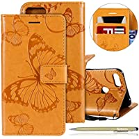 Herbests Leder Handy Schutzhülle für Huawei Honor 10 Lite Lederhülle Schmetterling Muster Leder Handyhülle Handytasche Brieftasche Ledertasche Bookstyle Flip Case Cover Klapphülle,Gelb