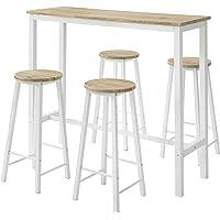 SoBuy OGT22-WN Set de Table + 4 Tabourets Ensemble Table de Bar Bistrot + 4 Tabourets de Bar avec Repose-Pieds Table…