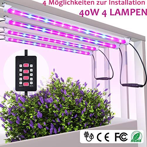 MIXC pflanzenlampe 40W LED Pflanzenlicht Pflanzenleuchte Wachsen licht Vollspektrumverbesserte Grow Lampe Radfahren 5 dimmbare rot blau für Pflanze Sukkulenten Sämling [4-Pack]