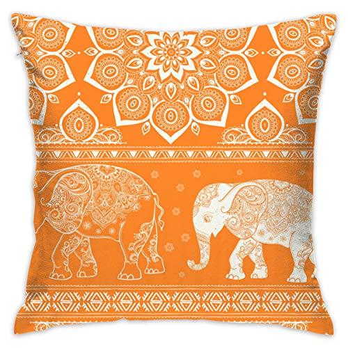 XCOZU Fundas de cojín 45 x 45 cm, Hermosas Fundas de Almohada Decorativas de Elefante Naranja, Grandes, para sofá, Cojines y Fundas de Almohada en Ambos Lados, decoración del hogar o el Coche