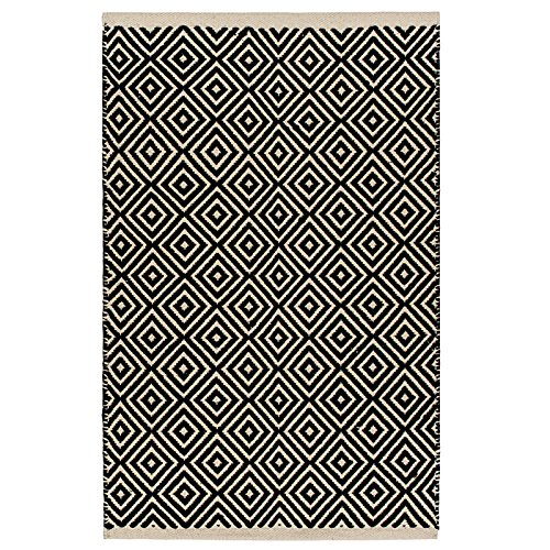 fair trade teppiche Fair Trade Diamond Weave 100% Baumwolle Handwebteppich mit genähter Kante 60x90cm, baumwolle, Schwarz , 60 x 90cm