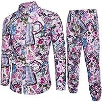 ¡Gran promoción!Camisas para Hombre + Pantalones Estilo Folk-Custom Casual Manga Larga Negocio Slim Fit Estampado Blusas Tops