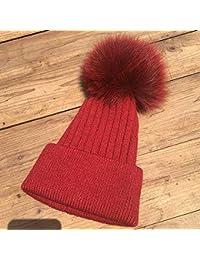 HAOLIEQUAN Berretto da Sci E Beanie Pompon Donna Cappello Invernale A  Pompon per Donna Cappello Lavorato b23aea257e10