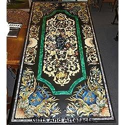 """60""""x 30"""" rectangular verde mesa de comedor de mármol incrustaciones de parte superior hecho a mano Pietra Dura arte"""