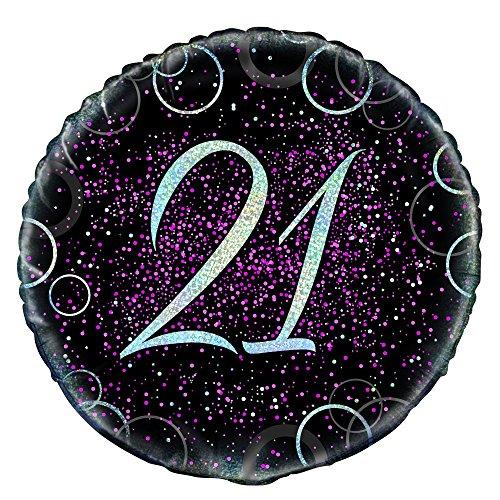 Unique Party Globo foil de 21 cumpleaños Color rosa metálico brillante 45 cm 55794