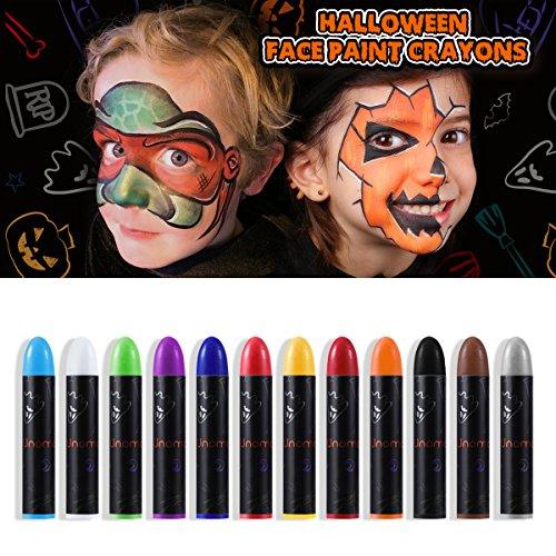 Unomor Schminkstifte für Kinder, Halloween Makeup Schminkset, Gesicht Malen Buntstifte, Körperbemalung Bodypaint Körpermalfarben Tattoo Buntstifte Kit, 12 Farben