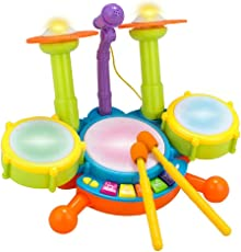 HALONATION Dynamic Fun Beat Jazz Musical Electronic Drum Set with Mic/Drumstick and Flashing Lights for Kids