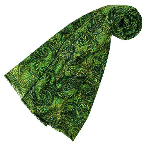 Lorenzo Cana - Luxus Designer Schal Schaltuch aus Baumwolle mit Seide aufwändig bedrucktes Paisleymuster Schaltuch 70 cm x 190 cm, Grün Designer-schal