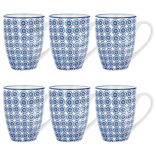 Kaffeebecher/Teetassen - gemustert - 360 ml (12,7 oz.) - Blauer Blumenprint - 6 Stück