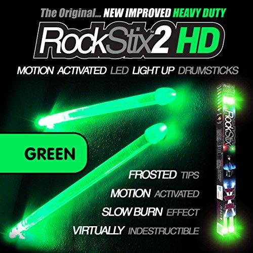 drumsticks led GRÜN - LED LEUCHTEN TROMMELSTOCK - ROCKSTIX