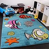Kinderteppich Clown Fisch Unterwasserwelt Design Türkis Blau Grün Creme Pink, Grösse:120x170 cm
