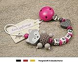 Baby SCHNULLERKETTE mit NAMEN   Schnullerhalter mit Wunschnamen - Mädchen Motiv Fuchs und Herz in pink, grau