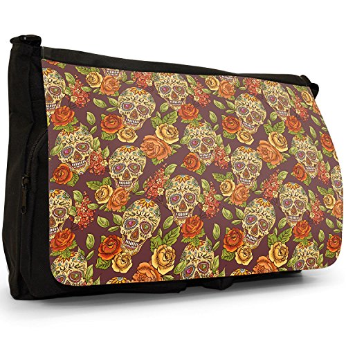 Fancy A Snuggle, Borsa a spalla donna Painted Skulls With Flowers