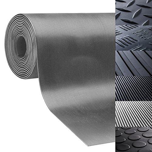 Passatoia antiscivolo in gomma | rivestimento pavimento, resistente, isolante | lavoro, industria | vari modelli e misure | design millerighe - 100x400cm - grigio