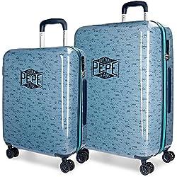 Pepe Jeans Pierce Juego de maletas, 69 cm, 119 litros, Azul