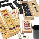 HomeTools.eu - 4er Spiele Sammlung | Domino, Mikado, Würfel mit Würfel-Becher, Spiel-Karten | Klassische Spiele für gesellige Spiele Abende, Domino und Mikado mit Holz Box | 4er Set