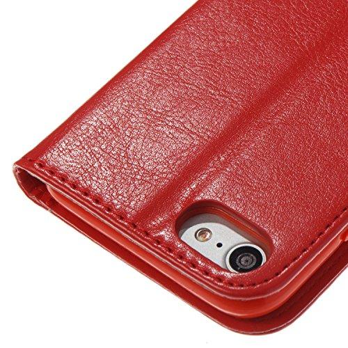 Color Printing Embossing Blumen Muster PU Leder Brieftasche Case Cover Tasche [Magnetverschluss] mit Card Slots & Lanyard & Halter & Kickstand Für iPhone 7 ( Color : Black ) Red