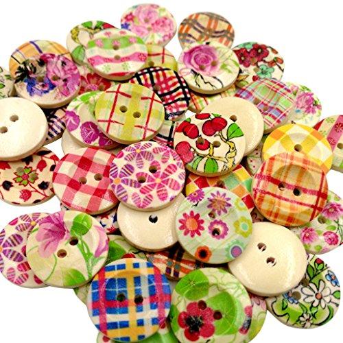 50x Botones De Colores De Flores De Madera Vintage Adorno Arte DIY 20mm Para Costura