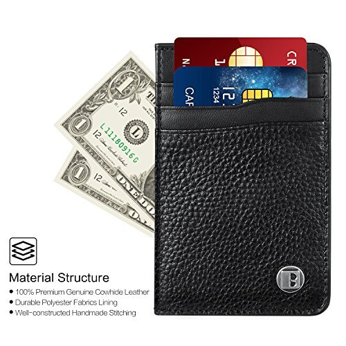 Benuo Card Holder Wallet RFID Card Pocket Genuine Leather Credit Card Purse Door Card Pocket-size Traffic Card Holder Pocket Money Travel Ticket Pocket Daily Going Out (Black Texture Leather -Common)