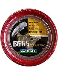 Yonex - Bg 65 ti 200mts cordaje badminton, Color- Red