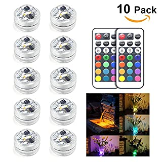 10pcs Amteker RGB Submersible LED Lights, Waterproof Underwater Lights Color Changing for Fish Tank, Vase, Pond, Swimming Pool, Bathtub, Aquarium and Party Decoration, IR Remote Control, Battery Opera