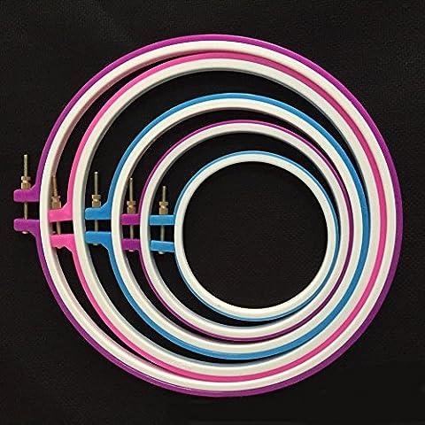 Veewon Anelli ricamo a mano ricamo cerchio Cross Stitch Hoop Set da 5a 11pollici o 12,7–27,2cm (colore casuale), confezione da 5 - Grande Embroidery Hoop