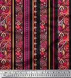 Soimoi Schwarz Kunstseide Stoff Streifen, Blumen & Paisley
