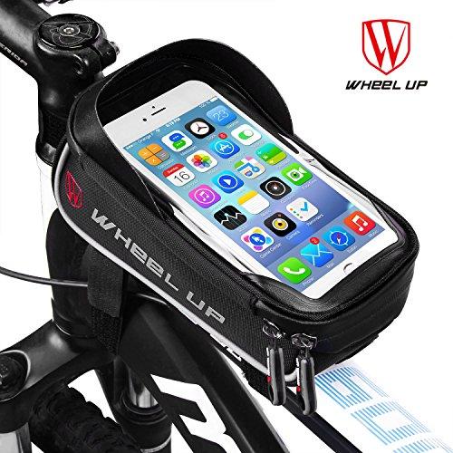 """Bolsa Bicicleta Cuadro - WheelUp 6"""" Soporte Movil Bicicleta - Impermeable Bolsa Bici Manillar de Teléfono Celular con Pantalla Táctil Alforjas para Bicicleta Montaña o Carretera (Negro y Gris)"""