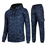 AIRAVATA Hommes de Mode Polaire Sports Jogging Survêtement Top & Bottoms Set, Bleu7, L