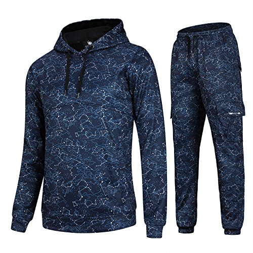 AIRAVATA Hommes de Mode Polaire Sports Jogging Survêtement Top & Bottoms Set