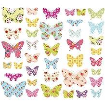 Decowall DW 1408 Gemusterte Schmetterlinge Tiere Wandtattoo Wandsticker  Wandaufkleber Wanddeko Für Wohnzimmer Schlafzimmer Kinderzimmer