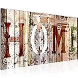 Bilder Home Haus Wandbild Vlies - Leinwand Bild XXL Format Wandbilder Wohnzimmer Wohnung Deko Kunstdrucke Braun 1 Teilig - MADE IN GERMANY - Fertig zum Aufhängen 502812b