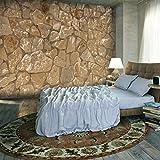 decomonkey | Fototapete Steinwand Steine 400x280 cm XXL | Design Tapete | Fototapeten | Tapeten | Wandtapete | moderne Wanddeko | Wand Dekoration Schlafzimmer Wohnzimmer | Beige Braun