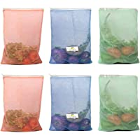 HomeStrap Set of 6 Reusable Double Layer Mesh Fridge/ Refrigerator Bags / Pouches for Storage of Fruits , Vegetables…