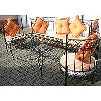 salon marocain complet orange en fer forg et verre