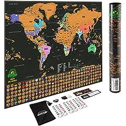 Mapa del mundo para rascar - Con los estados de EEUU y con banderas, registra tus aventuras. Incluye rascador y pegatinas para recordar, el regalo perfecto para viajeros, de Earthabitats (TM)