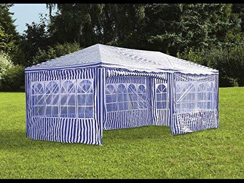 Maxx® gazebo da giardino, 3 x 6 m, con 6 pareti laterali, 4 con finestre e 2 chiuse, giunzioni plastiche, impermeabile, con picchetti e corde di tensione, blu - bianco