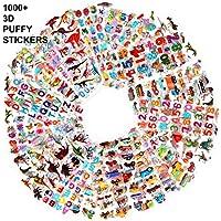 Howaf Pegatinas para niños, 1000+ 48 hojas diferentes, 3D pegatinas hinchadas, para Infantil de fiesta cumpleaños Regalo Niño Niña Gratificantes Scrapbooking, letras, números, dinosaurios, autos
