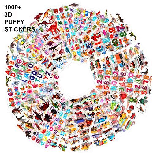 Howaf 48 Blatt 3D Aufkleber für Kinder Kleinkinder 1000+ Geschwollen Stickers für jungen Mädchen Lehrer Verschiedene Set Buchstaben, Zahlen, Dinosaurier, Autos und mehr -